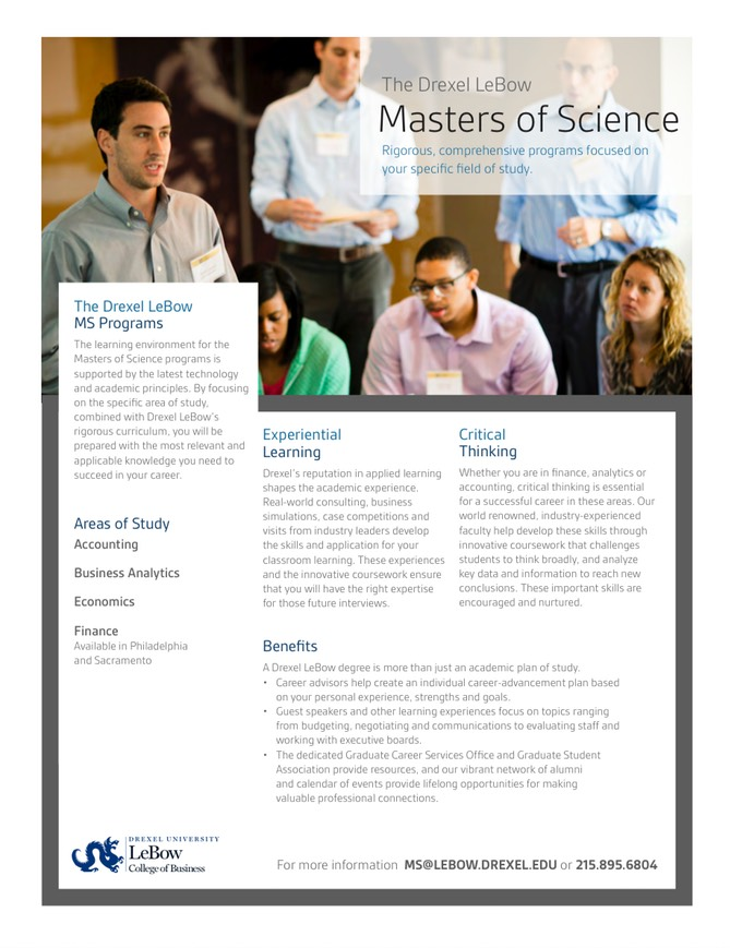 Drexel LeBow Master of Science (MS) degree programs in business
