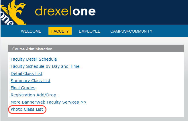 screen capture of Drexel One page