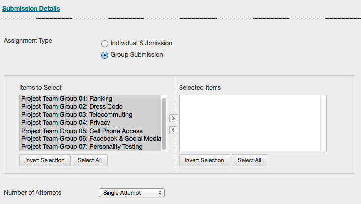 Screen capture of assignment submission details options