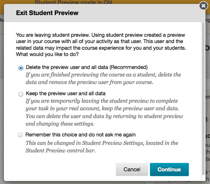 Screen capture of Student Preview Mode settings pop-up window