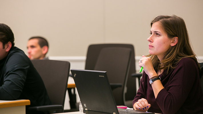 Engaged MBA Students Listen in Class