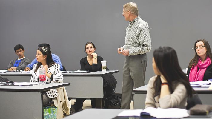 Business professor teaching