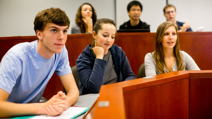 Economics students in class
