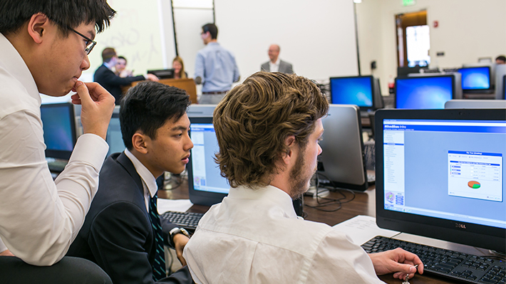 Students working on a computer together