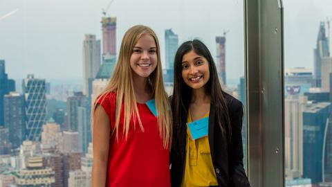 LeBow students pose for a photo at SAP's New York City offices