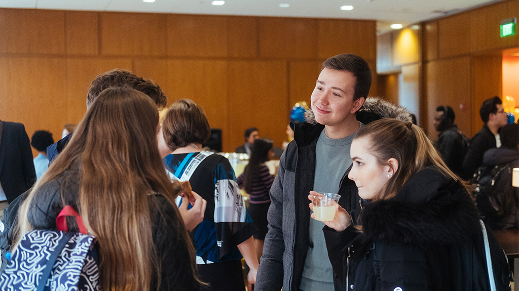 Students mingle during co-op event