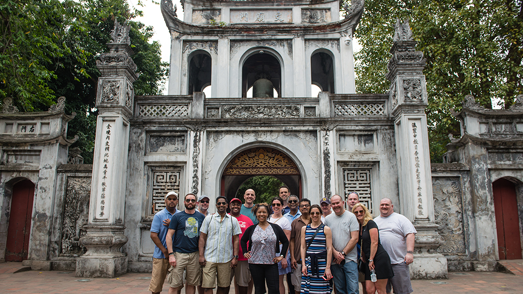 EMBA students and alumni at the Temple of Literature in Hanoi