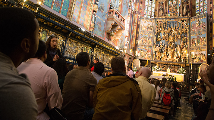 Students visit the Wawel Cathedral in Krakow during a city tour