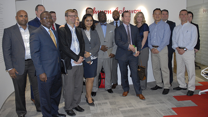 EMBA students after meeting with leaders at Johnson & Johnson