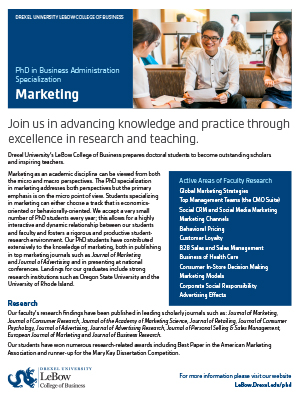 Phd Marketing Fact Sheet Drexel Lebow