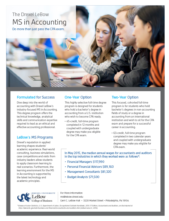 Drexel LeBow MS in Accounting