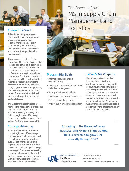 Ms In Supply Chain Management And Logistics Fact Sheet