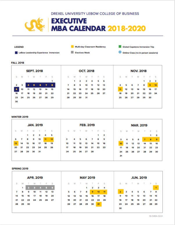 Drexel 2020 Calendar Executive MBA Calendar | Executive MBA ​Program (EMBA)