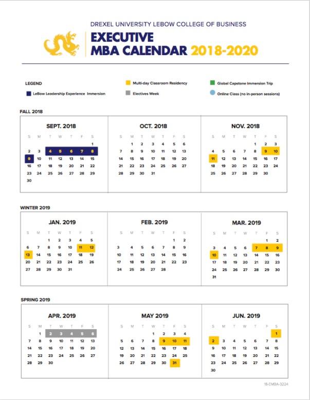 2018 Executive MBA Calendar