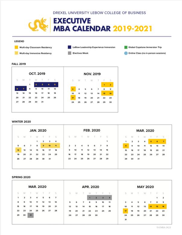 Drexel Academic Calendar 2022.Executive Mba Emba Calendar Schedule Executive Mba Program Emba