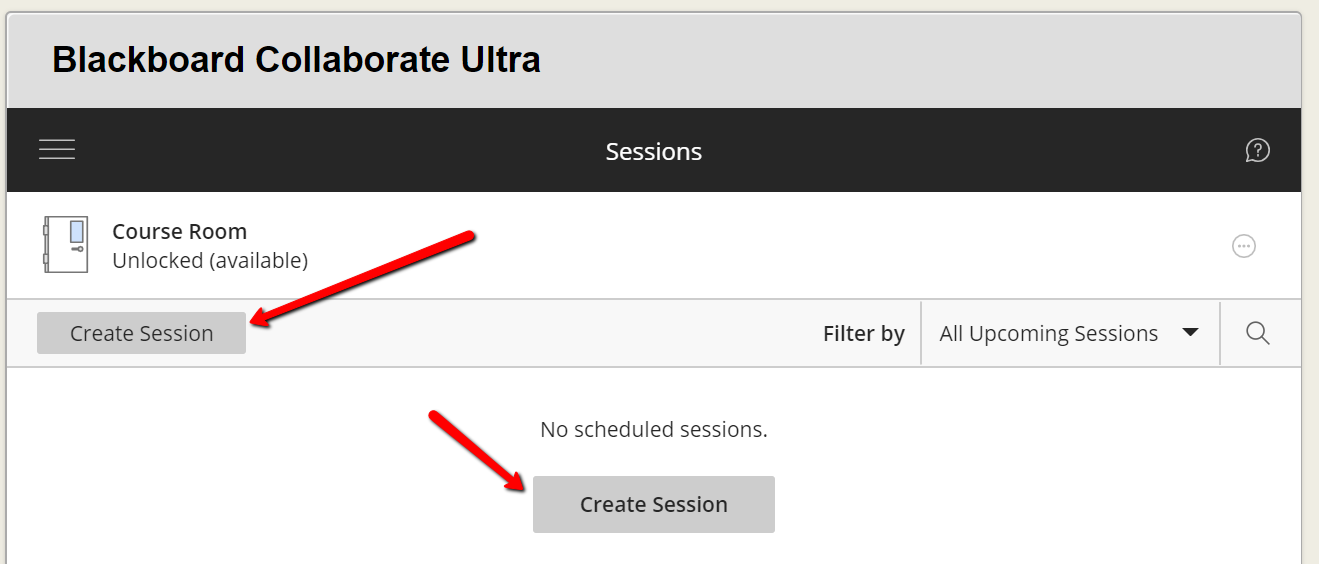 "Screen capture of the Blackboard Collaborate page's ""Create Session"" buttons"