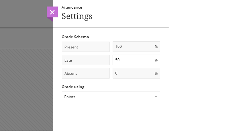 Screen capture of the Attendance Settings panel