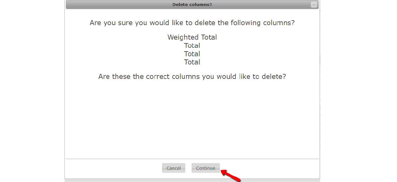 Notification window for column deletion