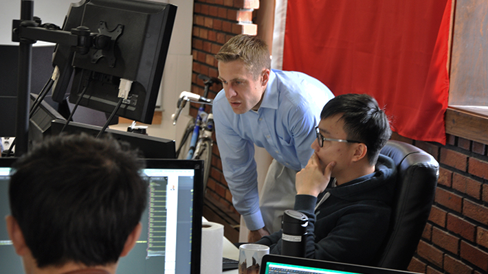 Employees Jack Vogel, PhD, and Tao Wang of Alpha Architect asset management