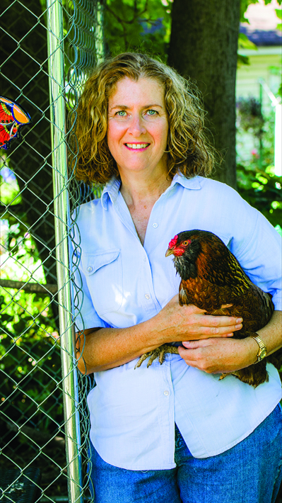 Maureen Breen and her chicken