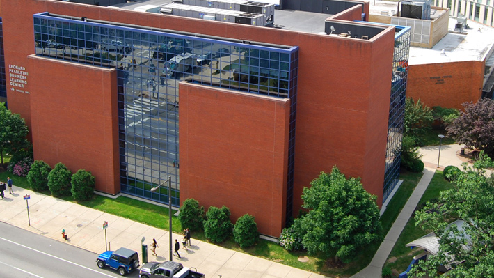 Aerial view of Pearlstein Business Learning Center