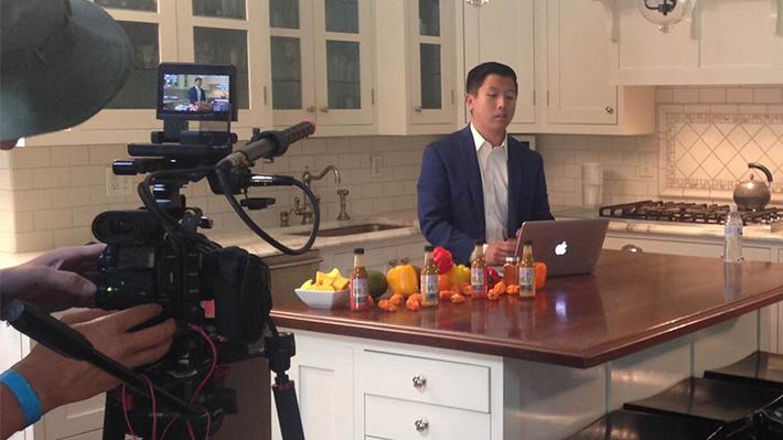 Lawrence Wu '14 filming kickstarter video for WUJU Hot Sauce