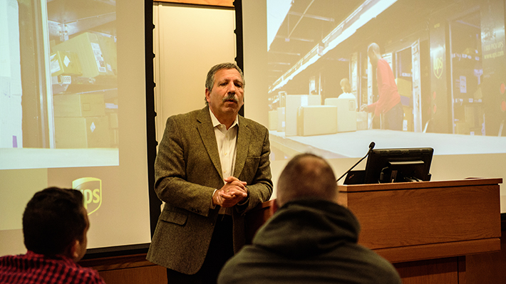 Jack Levis, of UPS, speaks to Drexel LeBow Business students about big data