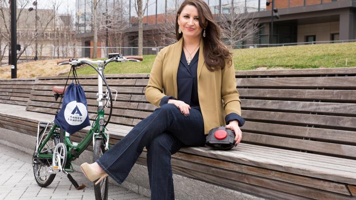 Rachel Benyola and The London helmet
