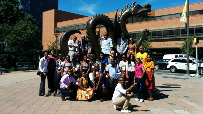 Mandella Fellows in front of the Drexel Dragon Statue