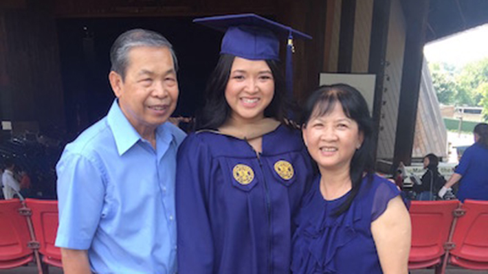 Kiri Khong and Her Parents at Graduation