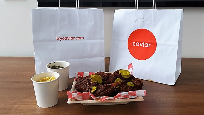 Kevin Sbraga hot chicken from Caviar