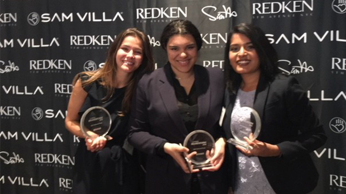 Laura Sturzenegger Amalya Boulajouahel and Bianca Fernandes at the L'Oreal Brand