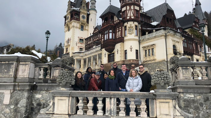 Drexel LeBow students at Peles Castle