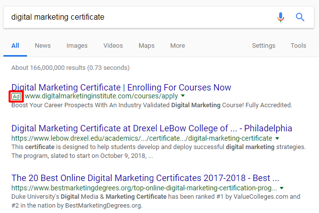 SEO Digital Marketing Search Results