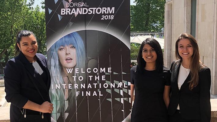 LeBow Students Amalya Boulajouahel Bianca Fernandes and Laura Sturzenegger