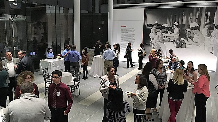 Students, faculty, staff and Johnson and Johnson representatives network