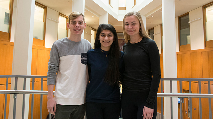Nick Costantino, Prachi Shah and Monica McGinnis in Gerri C. LeBow Hall
