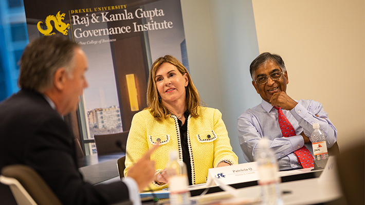 Patricia Q. Connolly and Raj L. Gupta at the 2018 Directors Dialogue