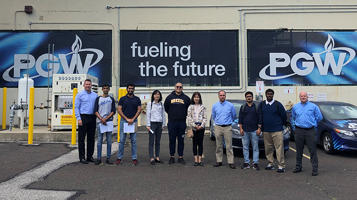 MS in Supply Chain Management Students at Philadelphia Gas Works fleet building.