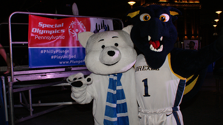 Chilly, Special Olympics Pennsylvania mascot with Drexel's Mario the Magnificent