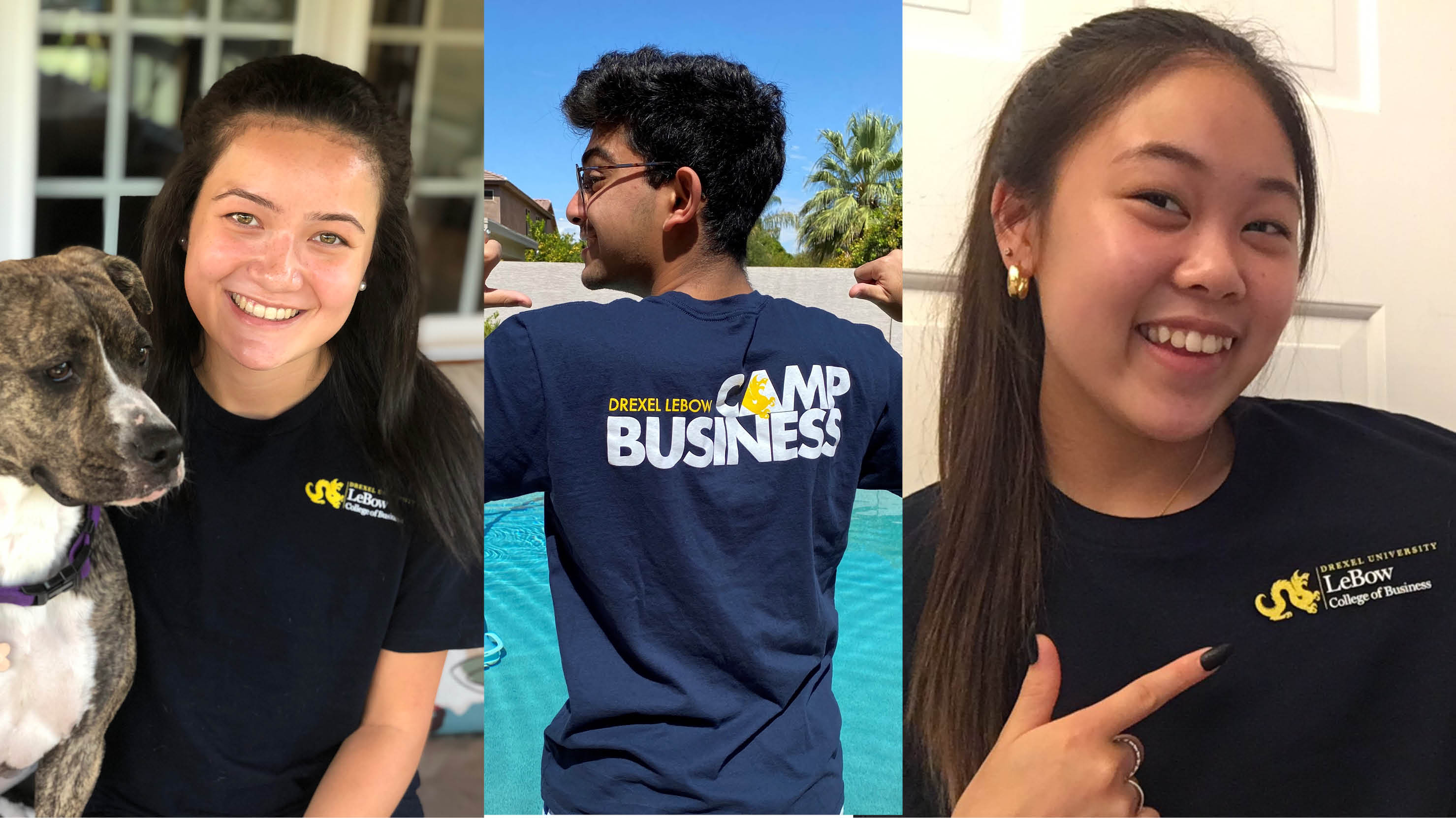 Three high school students wearing Drexel LeBow Camp Business shirts