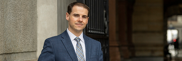 Mark O'Dwyer, MBA '20, at Philadelphia City Hall