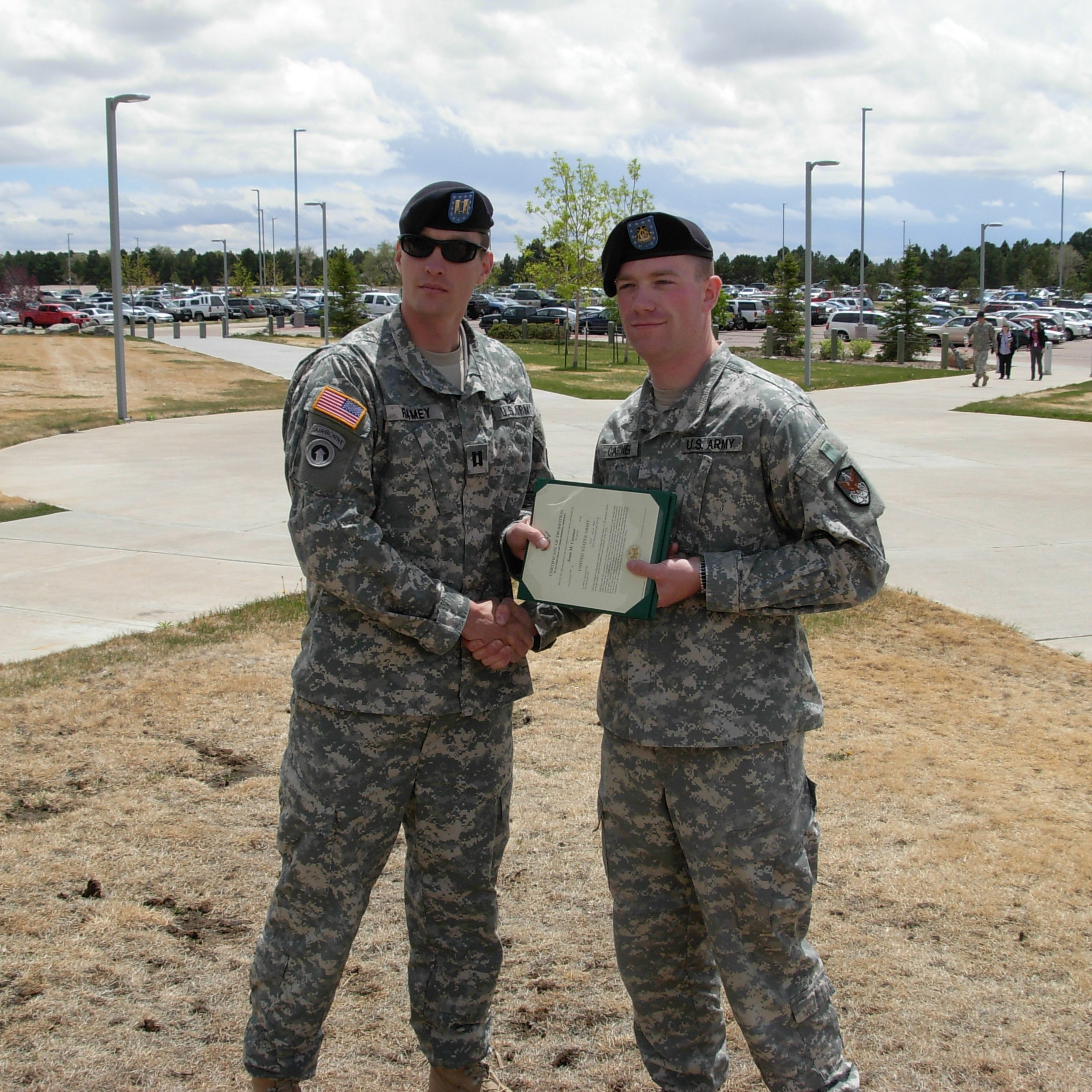 Drexel LeBow DBA student William Ramey (left) during US Army promotion ceremony