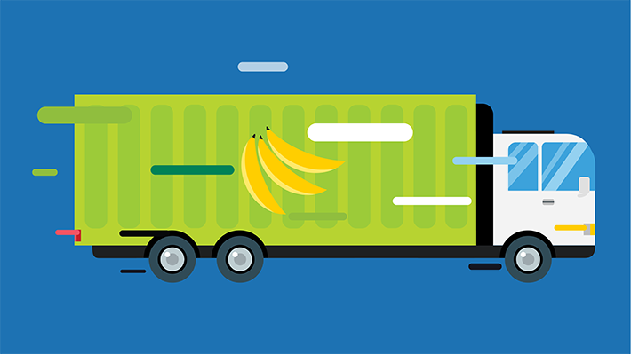 Truck delivering groceries