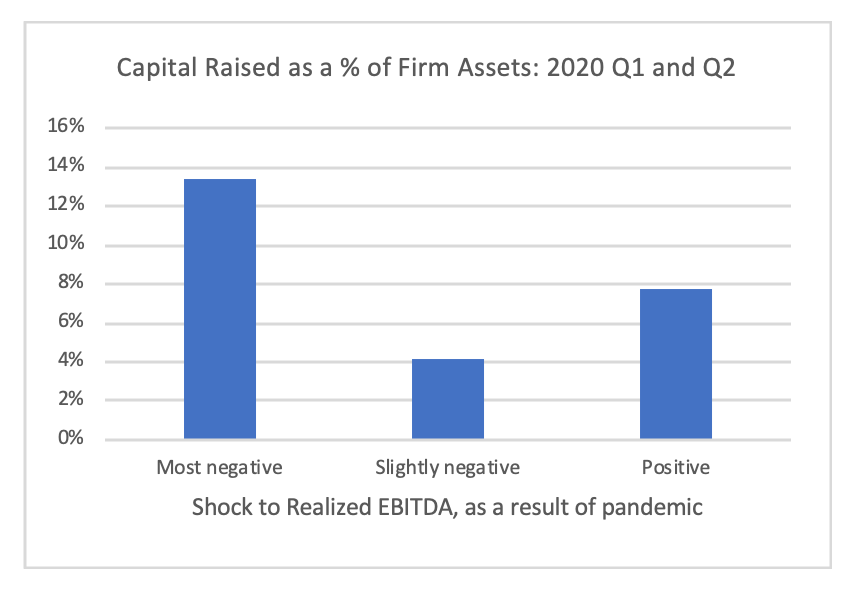 Chart - Capital Raised as a percent of firm assets - 2020 Quarter 1 and 2