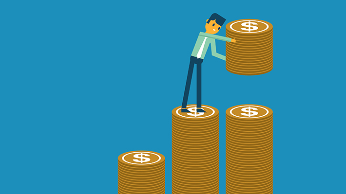 Illustration of person standing on stacks of coins