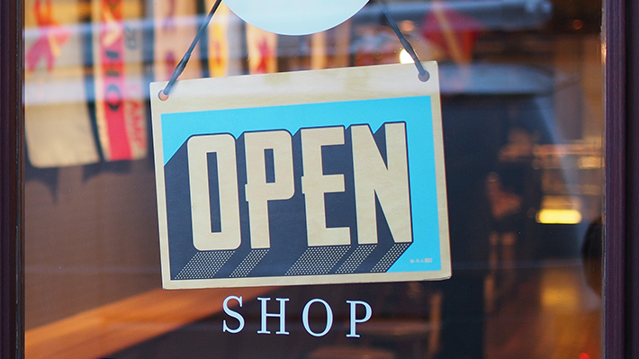 Open sign on a store