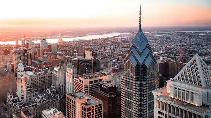 aerial photo of Philadelphia skyline