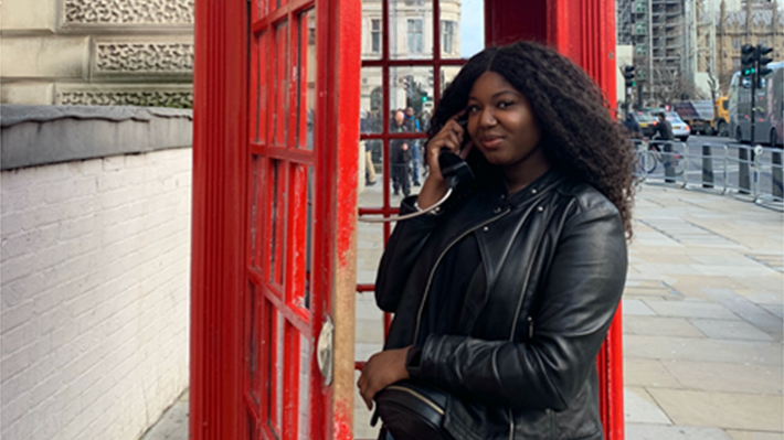 LeBow alumna Bianca Mitchell during a visit to London
